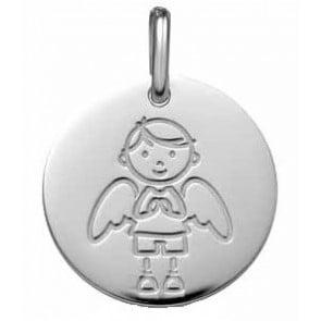 Médaille Ange Gardien Garçon (Or Blanc 9K)
