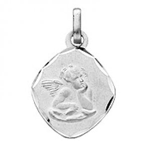 Médaille Ange Ovale (Or Blanc)