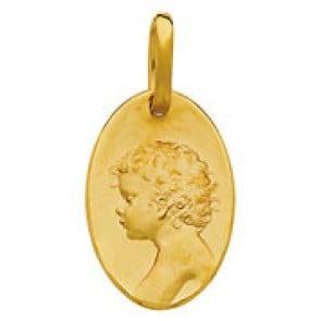 Médaille Ange Chérubin ovale (Or Jaune)