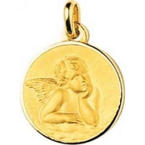 Médaille Ange Raphaël cerclée (Or Jaune)