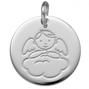 Médaille Angelot sur Nuage  (Or Blanc 9K)