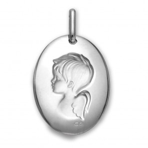 Médaille Angelot (Or Blanc)