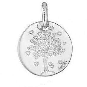 Médaille arbre aux coeurs 16mm (Or Blanc)