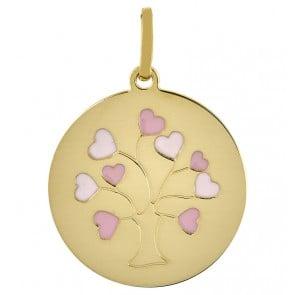 Médaille L'arbre aux coeurs rose (Or jaune)