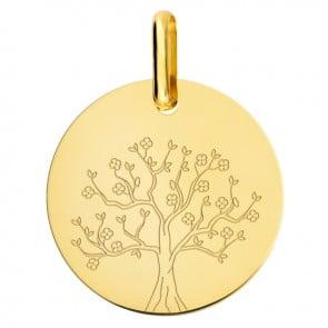 Médaille arbre de vie en fleurs or jaune
