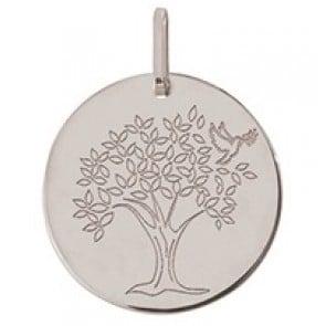 Médaille arbre de vie et colombe (Or Blanc)