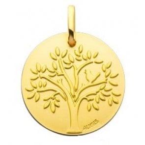 Médaille arbre de vie et l'oiseau (Or Jaune)