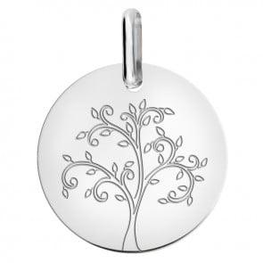 Médaille arbre de vie stylisé or blanc