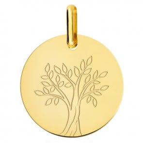 Médaille arbre de vie or jaune 9 carats