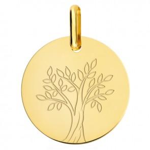Médaille arbre de vie or jaune 18 carats