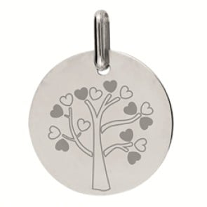 Médaille arbre de vie Petits Coeurs (Or blanc)