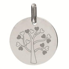 Médaille arbre de vie Petits Coeurs (Or blanc 9K)