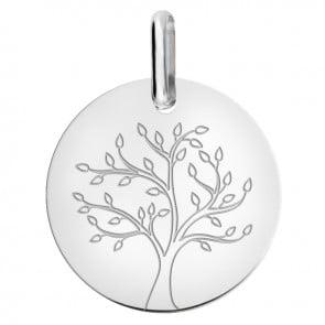 médaille arbre de vie en or blanc
