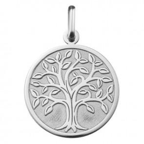 Médaille arbre de vie or blanc 9 carats