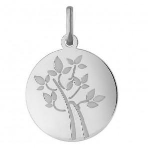 Médaille arbre de vie, jeune pousse (Or Blanc)