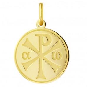 Médaille Chrisme brillante/satinée (Or Jaune)