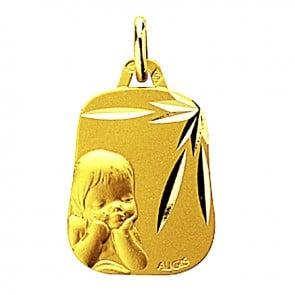 Médaille Chérubin ciselée trapèze (Or Jaune)