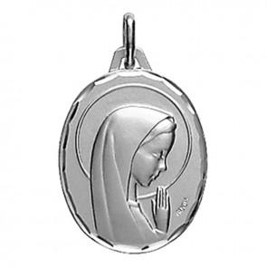 Médaille Augis Vierge aux mains jointes ovale (Or Blanc)