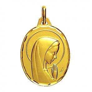Médaille Augis Vierge aux mains jointes ovale (Or Jaune)