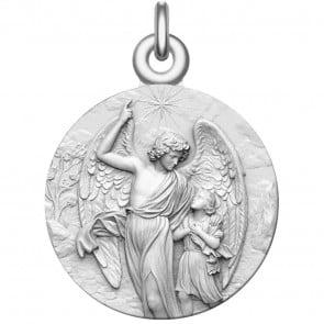 Medaille bapteme ange gardien argent massif