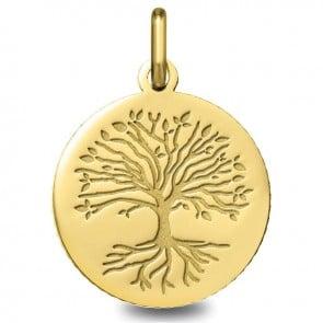 Médaille Arbre de Vie avec racines (Or Jaune 9 carats)