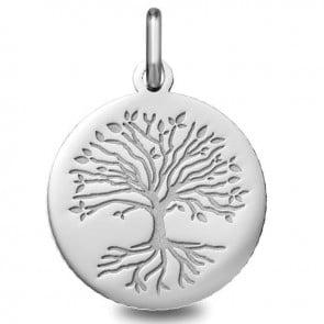 Médaille Arbre de Vie avec racines (Or blanc 9 carats)