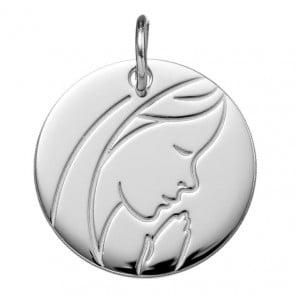 Médaille Vierge en Prière (Or Blanc 9K)