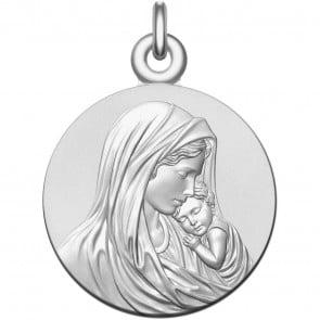 Medaille bapteme Vierge à l'Enfant Apaisé en argent massif
