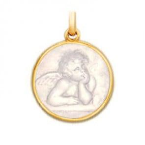 Médaille Ange Raphael en nacre - medaillle bapteme Becker
