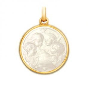 Médaille Angélus en nacre - medaillle bapteme Becker