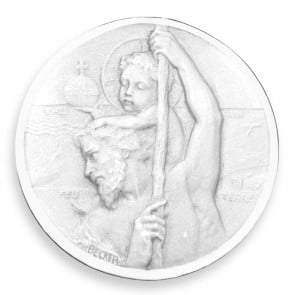 Médaille Becker Saint Christophe de profil (Argent)