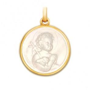 Médaille St Jean en nacre - medaillle bapteme Becker