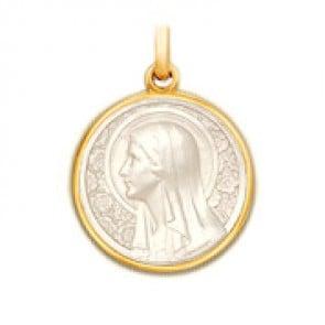 Médaille Vierge à l'Eglantier en nacre - medaillle bapteme Becker