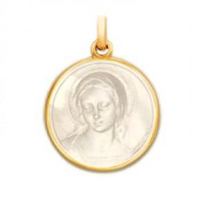 Médaille Vierge Amabilis en nacre - medaillle bapteme Becker