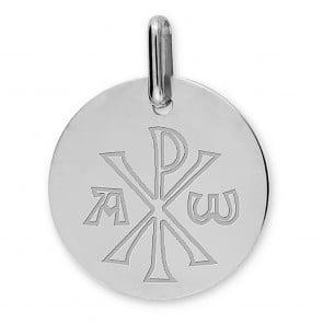 Médaille Chrisme (Or Blanc 9k)