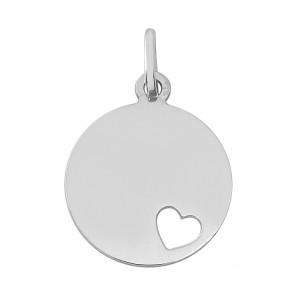 Médaille Coeur Ajouré (Or Blanc 9K)