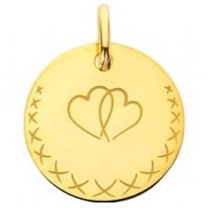Médaille les coeurs entrelacés (Or Jaune)