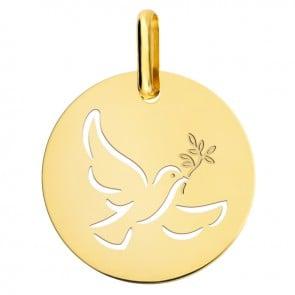 Médaille colombe ajourée or jaune