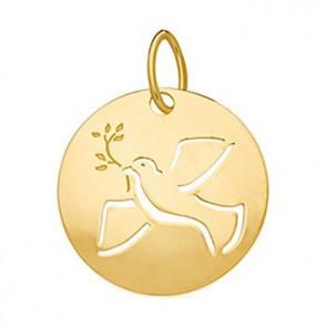 Médaille colombe ajourée bombée (Or Jaune 9k)