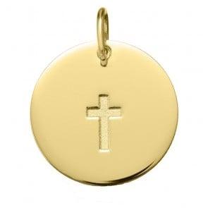 Médaille Croix Satinée (Or Jaune 9K)