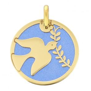 Médaille colombe et rameau sur fond bleu (Or Jaune et acier)