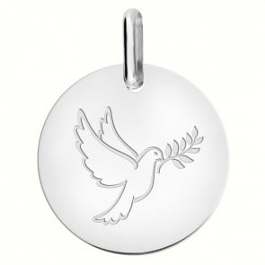 Médaille Colombe au Rameau (Or Blanc 9K)