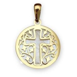 Médaille Croix sur nacre naturelle (Or Jaune 9K)