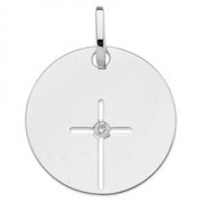 Médaille croix ajourée et oxyde (Or blanc)