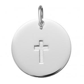 Médaille Croix Satinée (Or Blanc)