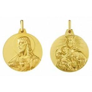 Médaille Scapulaire Vierge au Mont Carmel / Christ en sacré coeur (Or Jaune)