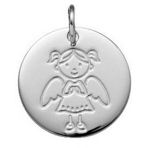 Médaille Demoiselle Ange (Or Blanc 9K)
