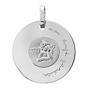 Médaille disque Ange Raphaël (Or Blanc)