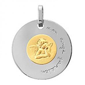 """Médaille disque Ange Raphaël deux ors """"mon ange gardien"""""""