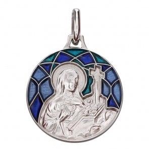 Médaille Emaillée Sainte Rita Bleue (Argent) Martineau